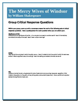 The Merry Wives of Windsor - Shakespeare - Group Critical Response Questions