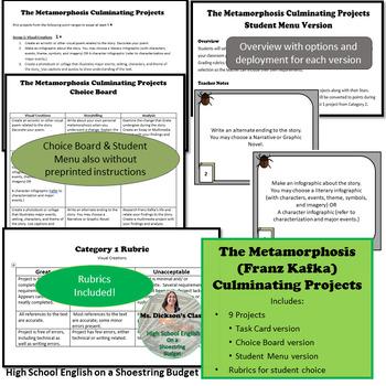 The Metamorphosis Culminating Projects Set [Task Cards] (Franz Kafka)