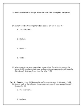The Metamorphosis (Kafka) Active Reading Guide