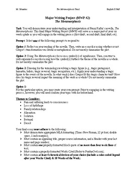 The Metamorphosis Major Writing Project (MWP) Assignment Sheet
