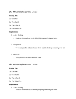 The Metamorphosis Unit Guide