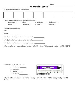 The Metric System Review Worksheet