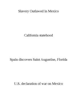 The Mexican War Chronology Sheet Slips