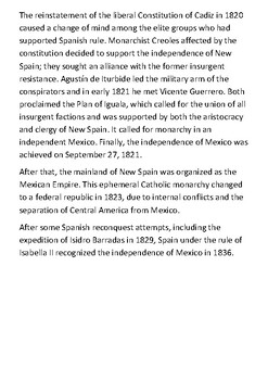 The Mexican War of Independence Handout