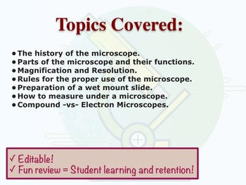Microscope Jeopardy Review Game