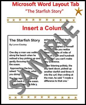 Microsoft Word Layout Tab The Starfish Story