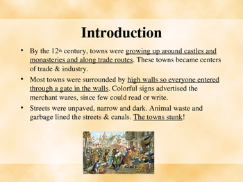 The Middle Ages - Life in Medieval Towns