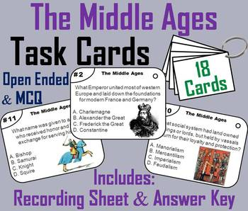 The Middle Ages Task Cards/ Medieval Europe Task Cards - Feudalism