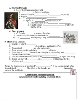 The Middle Ages The Crusades Guided Lecture Notes