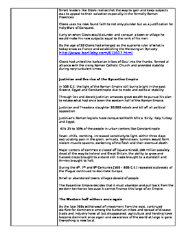The Middle Ages: The Dark Ages- Cornell Notes Assignment