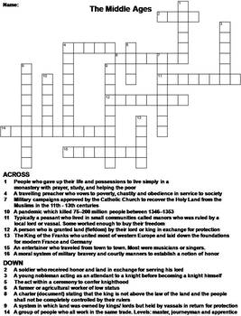 The Middle Ages Worksheet/ Crossword Puzzle