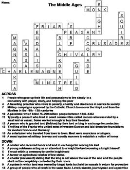 The Middle Ages Worksheet Crossword Puzzle By Science Spot Tpt