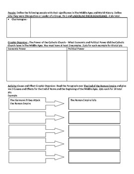 The Middle Ages Worksheet - The Rise of the Franks and Feudalism
