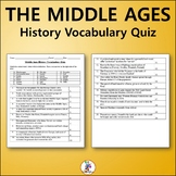 The Middle Ages World History Vocabulary Quiz and Word List
