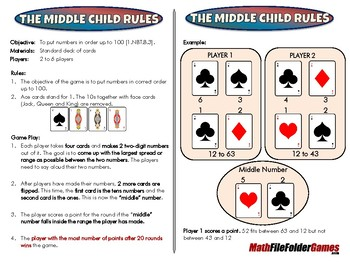 The Middle Child Rules - 1st Grade Math Game [CCSS 1.NBT.B.3]