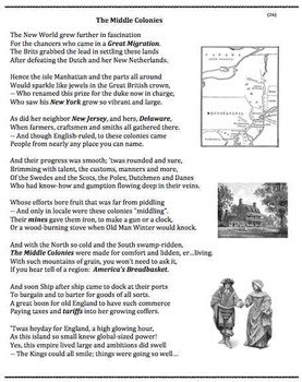 the middle colonies 26 poem worksheets and puzzle by andy almonte. Black Bedroom Furniture Sets. Home Design Ideas