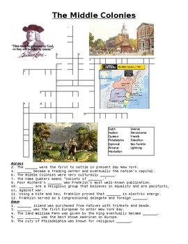 The Middle Colonies Crossword Puzzle or Web Quest