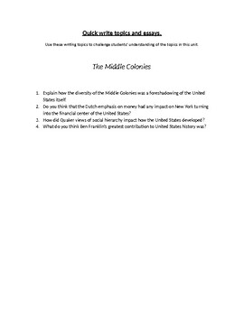 The Middle Colonies Writing Topics and Essay Questions
