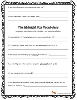 The Midnight Fox by Betsy Byars Comprehension Questions- 3rd, 4th, 5th