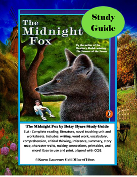 The Midnight Fox by Betsy Byars Novel Study Guide Complete!