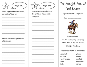 The Midnight Ride of Paul Revere Trifold - Imagine It 5th Grade Unit 3 Week 2