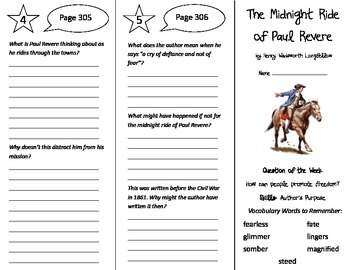 The Midnight Ride of Paul Revere Trifold - Reading Street 5th Gr Unit 2 Week 5