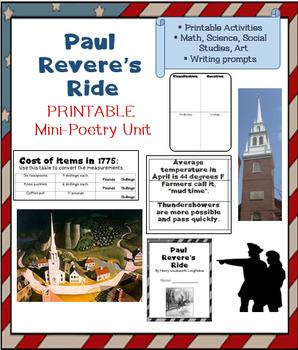 The Midnight Ride of Paul Revere; mini unit; PRINTABLES; z