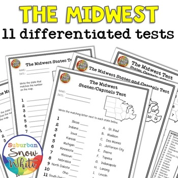 The Midwest United States: 11 Tests Quizzes   States, Capitals,  Abbreviations