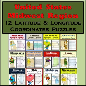 Latitude & Longitude Puzzles - The Midwest Region of the United States - 50% OFF