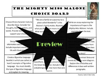 The Mighty Miss Malone Choice Board Novel Study Activities Menu Book Project