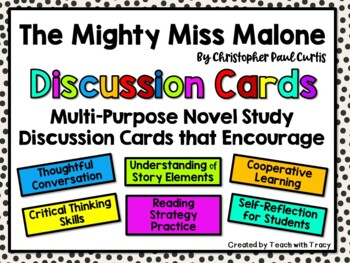 The Mighty Miss Malone Discussion Cards PLUS Extension Activities