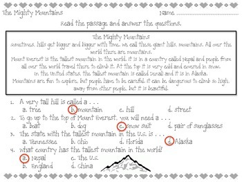 The Mighty Mountains - Reading Passage - Practice Worksheet