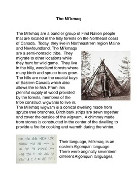 The Mi'kmaq Common Core Activity