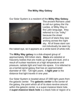 The Milky Way Common Core Reading and Writing Activity