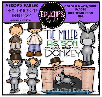 The Miller, His Son, And Their Donkey(Aesop's Fable) Clip Art {Educlips Clipart}