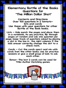 The Million Dollar Shot - 100 Elementary Battle of the Books Questions