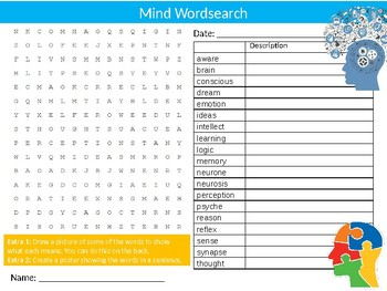 The Mind Wordsearch Sheet Starter Activity Keywords Cover Brain Biology