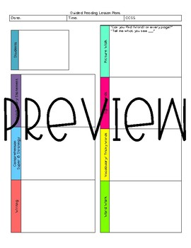 The Mini Greg Guided Reading Template.