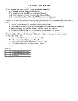 The Minister's Black Veil Assessment - common core aligned quiz/test