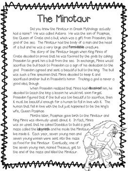 The Minotaur ~ A Fictional (Myth) Reading Assessment Prompt