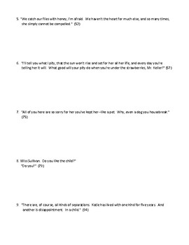 The Miracle Worker Quote Analysis Worksheet (or Test) with Detailed Answer Key