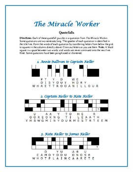 The Miracle Worker: 10 Quotefall Word Puzzles—Challenging but Fun!