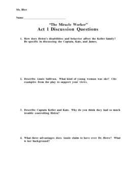 """""""The Miracle Worker"""" Act I Discussion Questions"""
