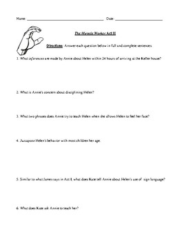 The Miracle Worker Act II Worksheet, Test, or Homework and Detailed Answer Key