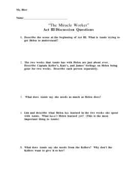 """""""The Miracle Worker"""" Act III Discussion Questions"""