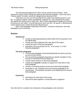How To Write A Critique Essay Example The Miracle Worker Essay Assignment The Miracle Worker Essay Assignment Cheating Essay Writing also Essay On Children Day The Miracle Worker Teaching Resources  Teachers Pay Teachers Essays On Cloning
