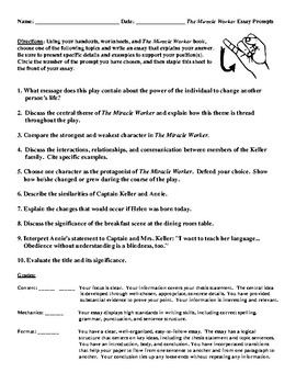 Sample Essays For High School The Miracle Worker Essay Prompts And Detailed Rubric Learning English Essay also Healthy Eating Essays The Miracle Worker Essay Prompts And Detailed Rubric By Debbies Den Personal Essay Thesis Statement Examples