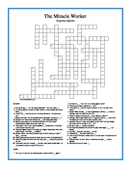 The Miracle Worker Important Quotes Crossword Puzzle