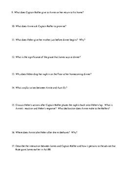 The Miracle Worker Act III Worksheet, Test, or Homework with Detailed Answer Key