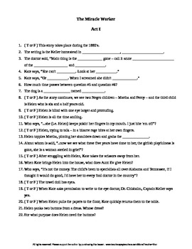 The Miracle Worker Worksheet Answers: the miracle worker a play by william gibson plete guided reading ,